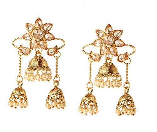Bindhani Indian Jewelry Wedding Bahubali Faux Pearl Kundan Jhumka Jhumki Bollywood Earrings For Women ()