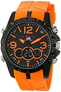 U.S. Polo Assn. Sport Men's US9057 Black Metal Watch with Orange Rubber Band