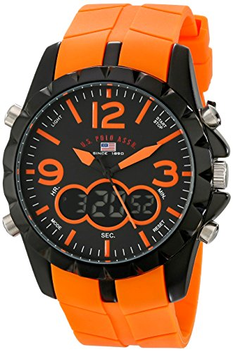 U.S. Polo Assn. Sport Men's US9057 Black Metal Watch with Orange Rubber Band ()