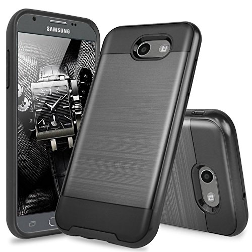 TJS Samsung Galaxy J3 Emerge/J3 Prime/Amp Prime 2/Express Prime 2/Sol 2/J3 Mission/J3 Luna Pro/J3 Eclipse Case, Hybrid Phone Case Cover Brushed Metal Finish Hard Inner Layer (Black)