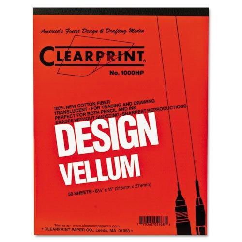 Clearprint 1000H Design Vellum Pad, 16 lb, 100% Cotton, 8-1/2 x 11 Inches, 50 Sheets, Translucent White, 1 Each ()