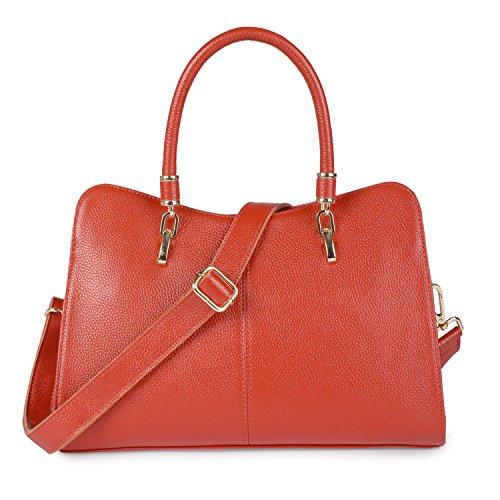 Orange Leather Handbag - 5