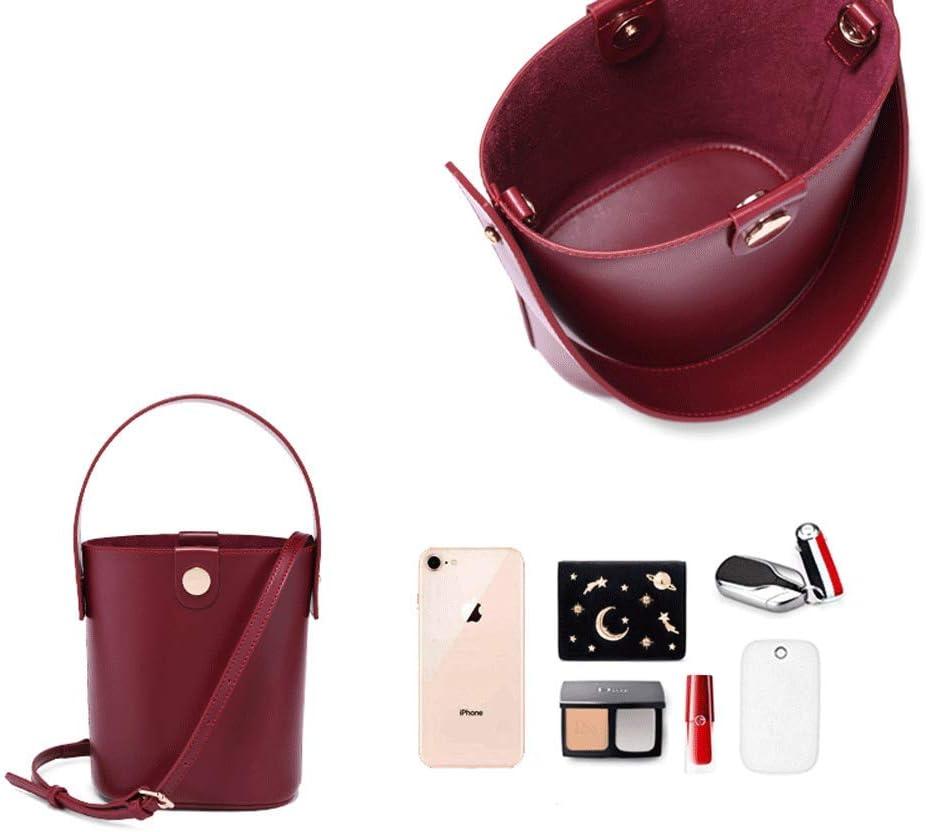 Color : Brown Womens Handbag Bucket Bag 2018 New Winter Wild Leather Shoulder Messenger Bag