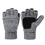 Vbiger Winter Warm Wool Mittens Gloves (Dark Grey)