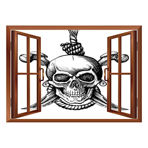 SCOCICI Wall Mural, Window Frame Mural/Pirate,Jolly Roger Skull with Two Knifes Bones and Hanging Rope Gothic Criminal Halloween Decorative,Black White/Wall Sticker Mural ()