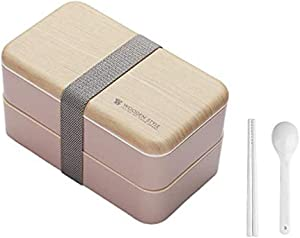 Bento Box Japanese Bento Box (2019 Pink and Bamboo Upgrade)-2 layers stackable leak-proof bento box/school lunch packaging and BPA-free food-grade safe food box