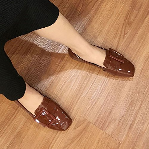 T-july Womens Penny Mocassini Scarpe Moda Casual Retro Slip On Mocassino Scarpe Basse Marrone