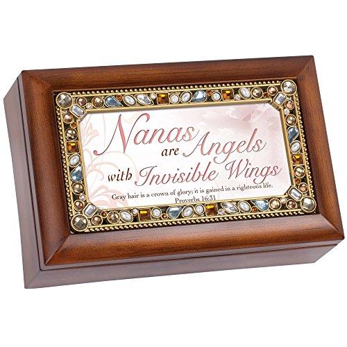 Cottage Garden Nanas are Angels Jeweled Woodgrain Jewelry Music Box - Plays Tune Amazing Grace