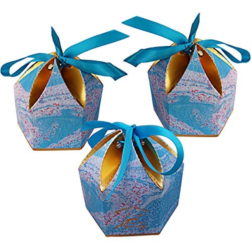 Lontenrea 50 Pcs Hexagonal Petal Candy Boxes Wedding Birthday Party Favor Gift Box with Blue Ribbon Decoration (Blue Marble)