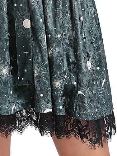 Pizzo lunghe Gonna autunnali e Velluto e Collo a Abiti Party Maniche Temperamento V Nero Luna Stile in stellato in elegante Moda Collana Donna invernali Verde maniche nUUZPEWT