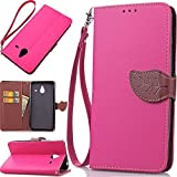 Lumia 640 XL Case,N640 XL Case Wallet,IVY [Kickstand Feature][Cards Slot][Cash Pockets][Leaves Buckle Lanyard] Premium PU Leather Wallet Case Flip Cover for Microsoft Lumia 640 XL Device [Hot Pink]
