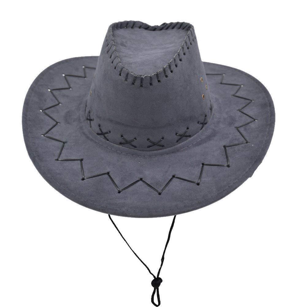 Western Unisex Erwachsene Leder Wildleder Cowboy Geschenke Fü r Frauen Hut Breiter Krempe Sonne Kappe Baseball Fashion Outdoor Mü tzen Hut Size : One Size) None