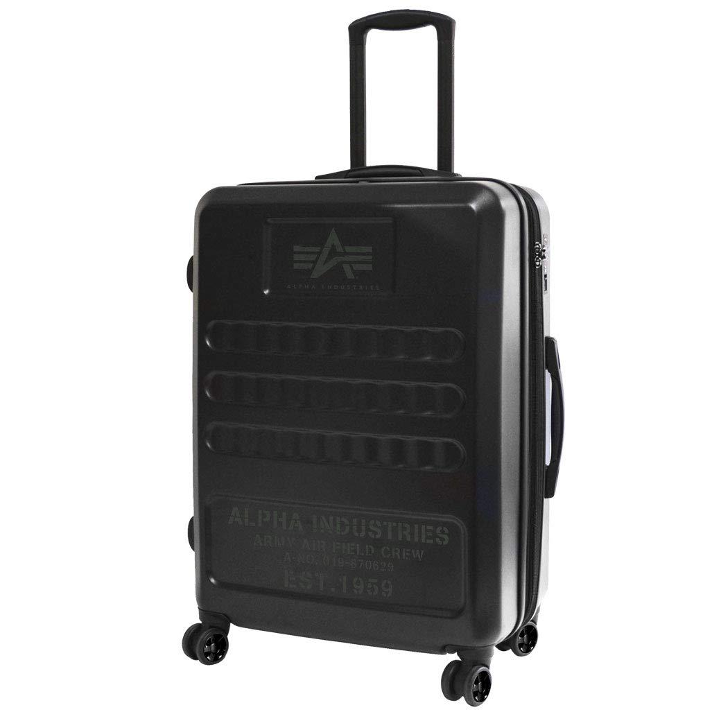 ALPHA アルファ スーツケース キャリーケース キャリーバッグ TSAロック メンズ 旅行 出張 ポリカーボネート ハード ファスナータイプ ミリタリー 縦型 4輪 S S機内持ち込みサイズ / ブラック B07NVYLZCH