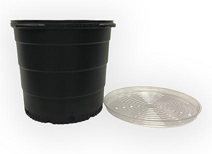 2Gal-15Gal Black Plastic Round Pot Vegetable Flowe Fruit Nursery Garden Plant