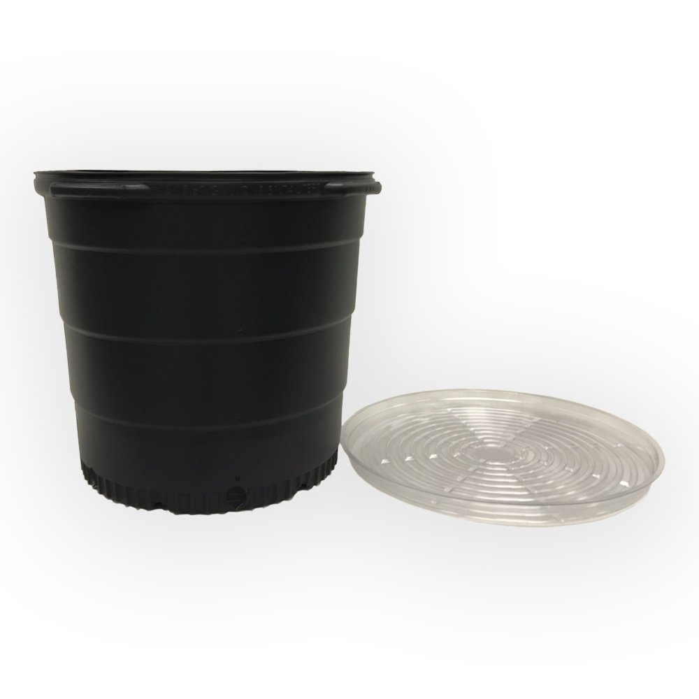 15 Gallon Round Nursery Trade Pots (5 Pack with Saucer, Black)