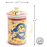 Super Versatile Asian Golden Yellow Emperor Blue Dragon Porcelain Mug with Matching Tea Infuser and Lid, Perfect for Tea or Coffee Lover Consumers