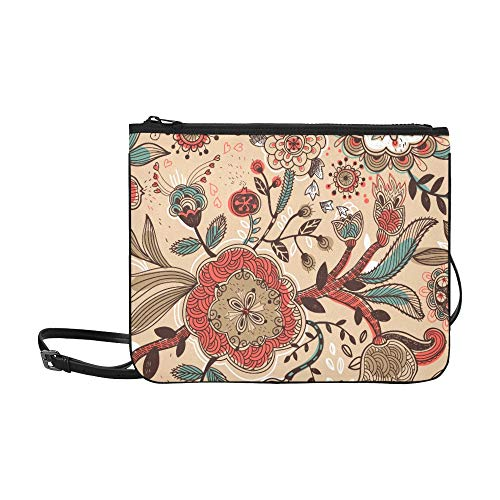 Vector Floral Seamless Pattern With Hand Drawn Pla Pattern Custom High-grade Nylon Slim Clutch Bag Cross-body Bag Shoulder - Pearl 8130 Leather