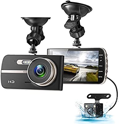 Dash Cam, EIVOTOR 1080P HD Dual Channel Dashboard Cameras Front and Rear, Driving Video Recorder with 4.0 IPS Screen, Built in G-Sensor, Motion Detection, ...