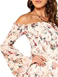 Romwe Women's Casual Floral Print Off Shoulder