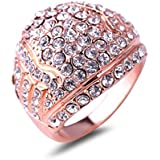Unique Shape Full Czech Crystal 18K Rose Gold Plated Women Engagement Ring NEW LOVE STORY (6.5)