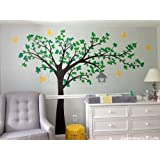 PopDecors - Tree Wall Decals Stickers Nursery Room Decor Flying Birds Decal Kids Decal- Big tree with love birds(100 inch W)