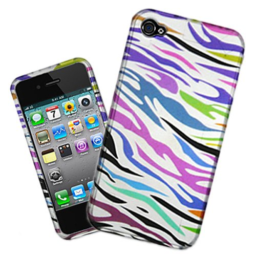 Premium Rainbow Zebra Design Pattern Rubberized Hard Case Cover For Verizon and AT&T iPhone 4 4G