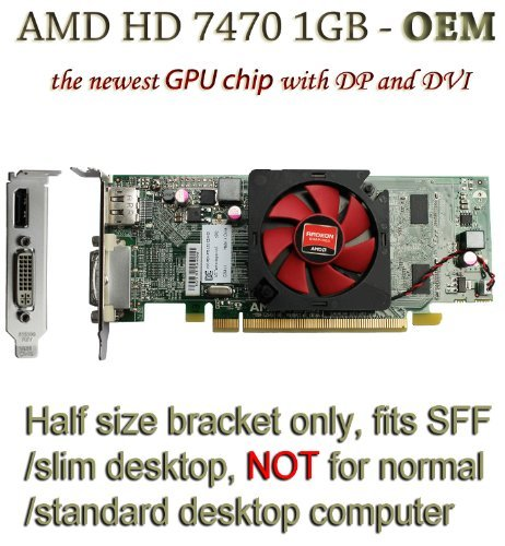 51pAuX4XtFL - AMD radeon HD 7470 1GB 1024MB low profile video card with display port and DVI for SFF / slim desktop computer