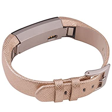 ACBEE Genuine Leather Band for Fitbit Alta,cowhide (Gold)