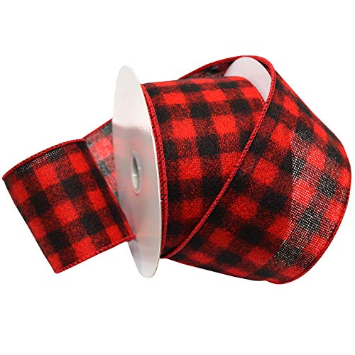 Morex Ribbon Red/Black Wired Flannel Buffalo Plaid Ribbon, 2.5 inches by 10 Yards