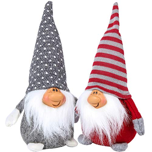 Funoasis Christmas Gnome Gifts Holiday Decoration Kids Birthday Present Handmade Tomte Plush Doll, Home Ornaments Tabletop Santa Figurines (8 inch) (Grey + Red) ()
