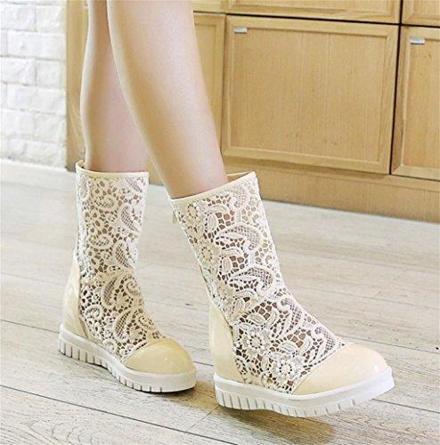 Elegante Meters Mujer Los Señoras Alto Personalidad Tacón Tacones Cuero Encaje Zapatos Hetao De Las White Temperamento Fq6B7wWTO