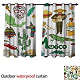WilliamsDecor Mexican Outdoor Curtains for Patio Sheer Fun Colorful Sketch Artful Mexico Chili Pyramid Nachos Cactus Music Poncho Pattern W55 x L45(140cm x 115cm)