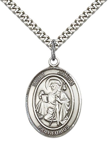 F A Dumont Sterling Silver St. James the Greater Pendant with 24