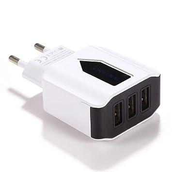 Cargador USB de Pared con 3 Puertos Adaptador de Cargador de Energía para Hogar Viajar