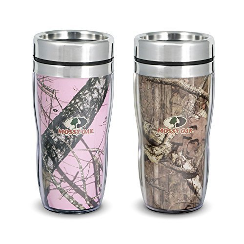 Mossy Oak Set of 2 Double Walled Stainless Steel 14 oz Mugs