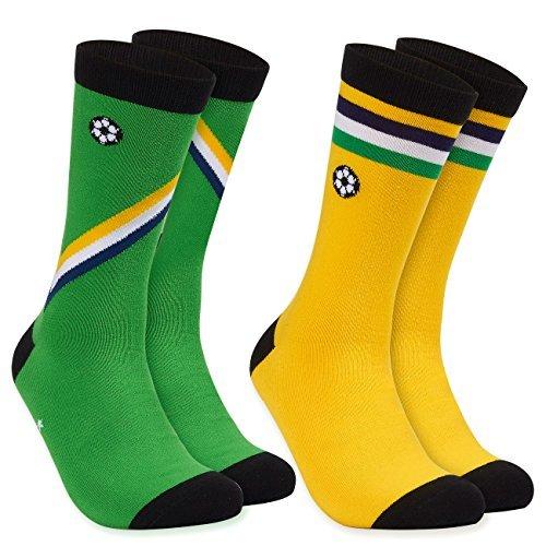 2-Pair Mens Crew Socks - Brazil Soccer Team Design, World Cup National Jersey