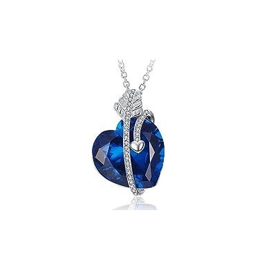 50e02dc901d3 Caperci Zafiro Creado Azul Colgante Corazón Flecha de Cupido  El amor es  para siempre