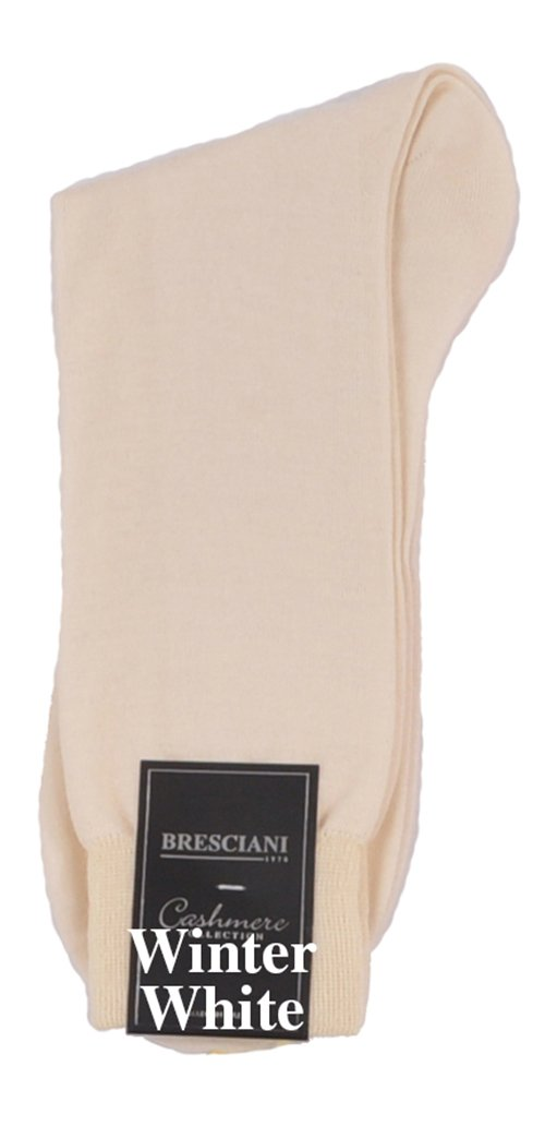 Bresciani Men's 100% Pure Cashmere Crew Dress Socks-1 Pair Winter White