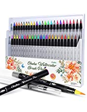 Ohuhu Watercolor Brush Markers Pen, 48 Colors Water Based Drawing Marker Brushes W/A Water Coloring Brush, Water Soluble For Adult Coloring Books Calligraphy Mother's Day Back To School Gifts