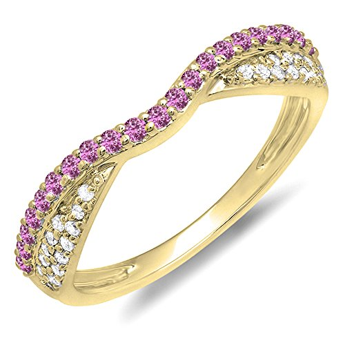 - Dazzlingrock Collection 14K Round Pink Sapphire & White Diamond Ladies Wedding Band Stackable Ring, Yellow Gold, Size 7.5