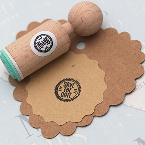 Luck 'SAVE THE DATE' Round Rubber Stamp - VERY MINI - Wedding/Craft Stamp