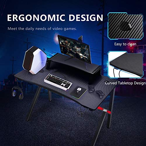 GTRACING Gaming Desk Computer Table Office PC Workstation with Shelf, Cup Holder, Headphone Holder, Built-in Power Strip 3 Outlets & 2 USB Ports K-Shaped 45'' E-Sports Gamer Desk,Red