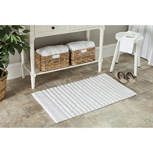 Safavieh Plush Master Bath Collection PMB625W Handmade White Cotton Bath Mat, 1 feet 9 inches by 2 feet 10 inches (1'9'' x 2'10'') (Set of 2) by Safavieh (Image #3)