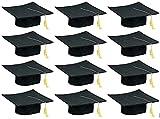 Childs Graduation Caps, Hats for Graduation Ceremony, 12 Felt Caps with Gold Tassels