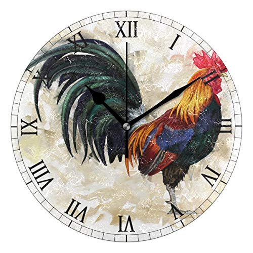 (AHOMY Round Wall Clock Painting Rooster Cock Home Art Decor Non-Ticking Numeral Clock for Home Office)