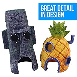 Ace Aquarium Ornaments, 2Pcs Fun Pineapple and Easter House for Fish Tank Decoration, Spongebob and Squidward House Figures, Eco-Friendly Resin Material | 1421.1