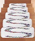 iPrint Non-Slip Carpets Stair Treads,Letter S,Capital Letter S Consisting of Various Colored Shaped Butterflies Exotic Animals Decorative,Multicolor,(Set of 5) 8.6''x27.5''