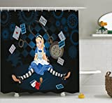 Ambesonne Alice in Wonderland Decorations Shower Curtain Set, Grown Size Alice Sitting with Fying Cards and Rose Flower Striped Cartoon, Bathroom Accessories, 69W X 70L Inches, Multi