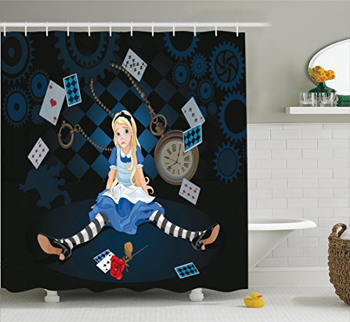 Ambesonne Alice in Wonderland Decorations Shower Curtain Set, Grown Size Alice Sitting with Fying Cards and Rose Flower Striped Cartoon, Bathroom Accessories, 69W X 70L Inches, Multi by Ambesonne