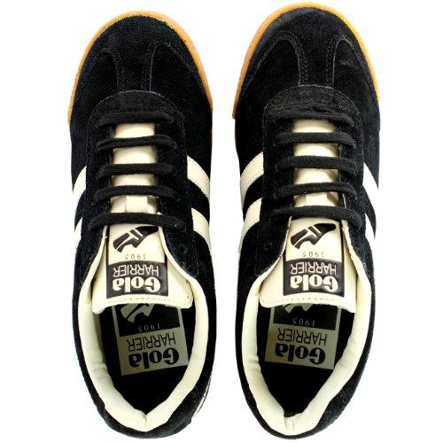 Dames Gola Plunder Lage Suède Met Witte Gestreepte Sneakers 5-10 Zwart